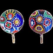 Italian Millefiori Glass Vintage Earrings