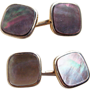 Art Deco Dark Mother of Pearl Signed Vintage Cufflinks