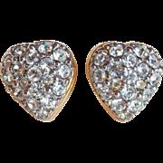 Small SWAROVSKI Signed Swan Mark Rhinestone Heart Pierced Earrings
