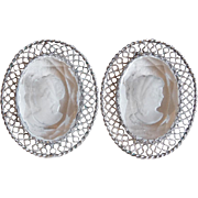 Gorgeous WHITING & DAVIS Cameo Glass Vintage Earrings