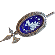 Fabulous VICTORIAN Enamel Cherub Antique Brooch
