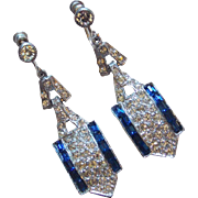 Fabulous ART DECO Blue & Clear Rhinestone Earrings