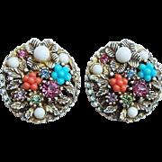 Gorgeous ART Enamel & Rhinestone Vintage Earrings