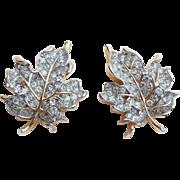 Gorgeous TRIFARI Rhinestone Leaf Vintage Earrings