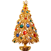 Vintage ART Signed Rhinestone Christmas Tree Brooch