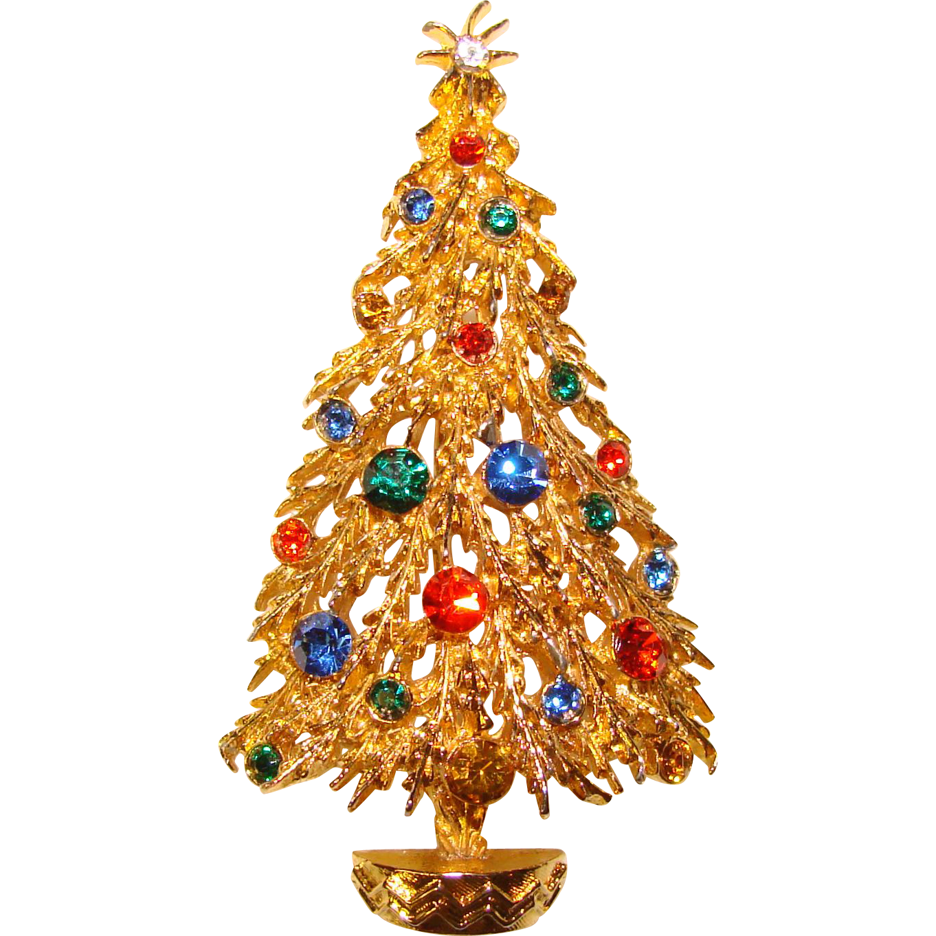 Vintage ART Signed Rhinestone Christmas Tree Brooch from ...
