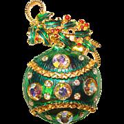 Fabulous CHRISTMAS ORNAMENT Vintage Rhinestone Brooch