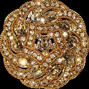 Fabulous TRIFARI Signed Rhinestone Vintage Brooch