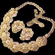 Fabulous PENNINO Signed Glass Pearl & Rhinestone Vintage Necklace Set