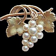 Gorgeous Krementz Cultured Pearl Grape Vintage Brooch