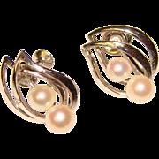 Gorgeous STERLING & Cultured Pearl Vintage Earrings
