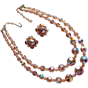 Gorgeous 2 Strand Brown Aurora Crystal Necklace Set