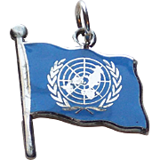 Sterling United Nations Enamel Flag Vintage Charm