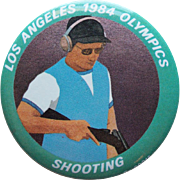 Large LA 1984 Olympics Shooting Vintage Pin Pinback - 2 1/8""