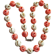 Art Deco CARVED CELLULOID Coral & Cream Bead Necklace