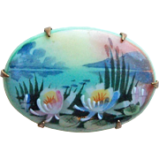 Fabulous VICTORIAN Antique Waterlily Handpainted Porcelain Brooch