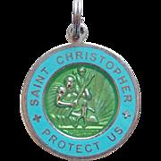 Vintage St. Christopher Silvertone & Enamel Surfer Charm