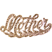 Fabulous Sterling & Marcasite MOTHER Vintage Brooch