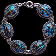 Fabulous Morpho Butterfly Wing Vintage Bracelet