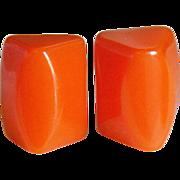 Chunky Orange Bakelite Vintage Earrings