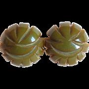 Gorgeous Carved Bakelite Olive Green Vintage Earrings