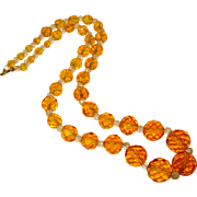 Gorgeous ART DECO Faceted Amber Glass Vintage Necklace