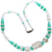 Gorgeous Art Deco Green & Clear Glass Beads Vintage Necklace