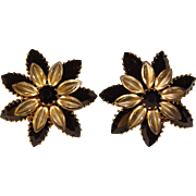 Gorgeous WEISS Signed Black Rhinestone Vintage Clip Earrings