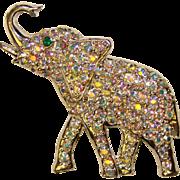 Fabulous ELEPHANT Aurora Rhinestone Vintage Brooch