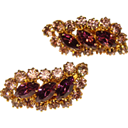 Gorgeous LAVENDER & PURPLE Rhinestone Vintage Clip Earrings
