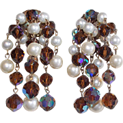 Fabulous Brown Aurora Crystal & Faux Pearl Vintage Dangle Earrings