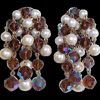 Fabulous Brown Aurora Crystal & Faux Pearl Vintage Dangle Earrings