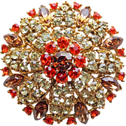 Fabulous Yellow Orange & Fawn Rhinestone Vintage Brooch