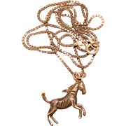 Sterling Wild Horse Vintage Charm Necklace