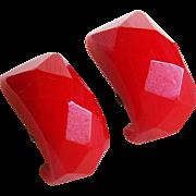 Vintage BAKELITE Red Carved Facet Earrings