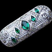 Art Deco Green Glass & Clear Rhinestone Vintage Brooch