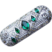 Art Deco Green Glass & Clear Rhinestone Vintage Brooch