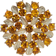 Gorgeous Amber Rhinestone Signed Sarah Coventry Vintage Brooch