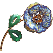 Gorgeous Speckled Enamel Flower Vintage Brooch