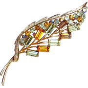 Gorgeous Amber Yellow & Fawn Rhinestone Vintage Brooch