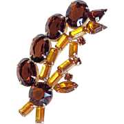 Gorgeous Brown & Amber Rhinestone Vintage Brooch