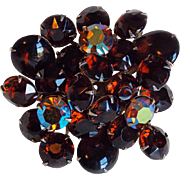 Gorgeous Dark Brown & Aurora Rhinestone Vintage Brooch