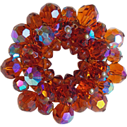 Gorgeous Orange Aurora Crystal Vintage Brooch