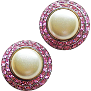 Fabulous PINK RHINESTONE & Faux Pearl Vintage Earrings