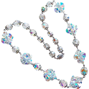 Fabulous AURORA CRYSTAL Clusters Vintage Necklace