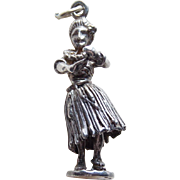 Vintage Hula Girl Sterling Mechanical Charm