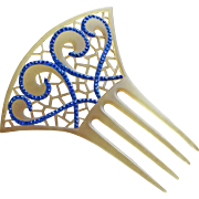 Gorgeous ART DECO Celluloid & Blue Rhinestone Hair Comb