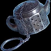 Vintage Sterling Tea Strainer - Fun Figural Tea Pot Shape