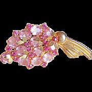Pink LUCITE & Rhinestone Vintage 1940s Brooch
