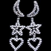 Long MOON STAR & HEART Rhinestone Pierced Earrings